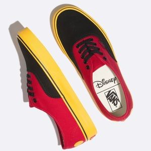 vans authentic disney mickey red yellow